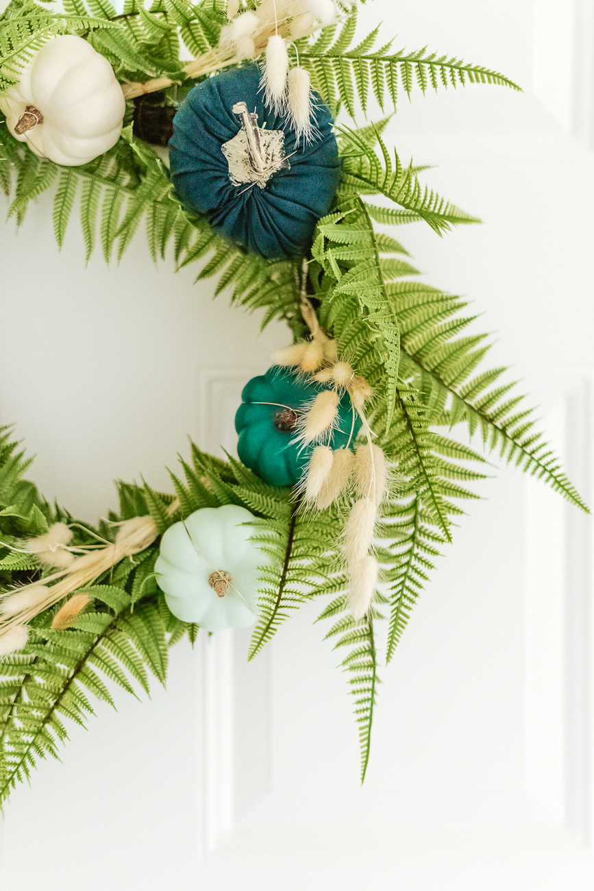 Wreath With Blue Pumpkins