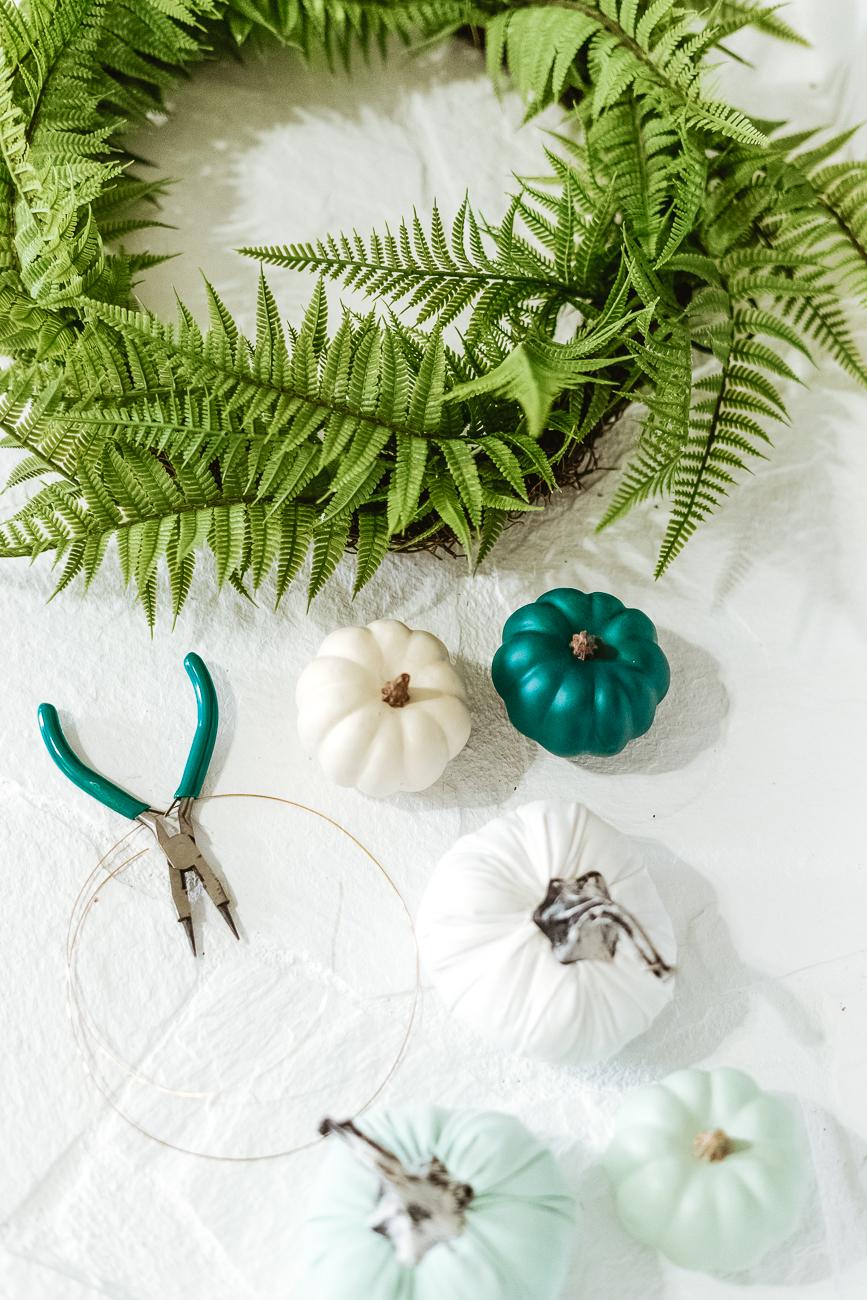 Supplies for blue pumpkin wreath