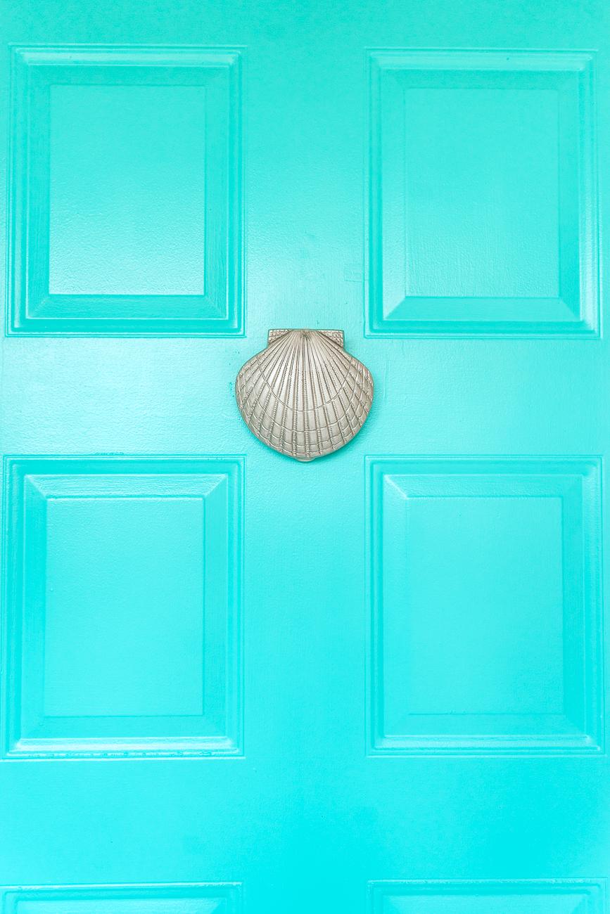 Seashell door knocker on painted metal door