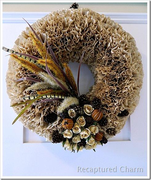 Coffee filter fall wreath idea