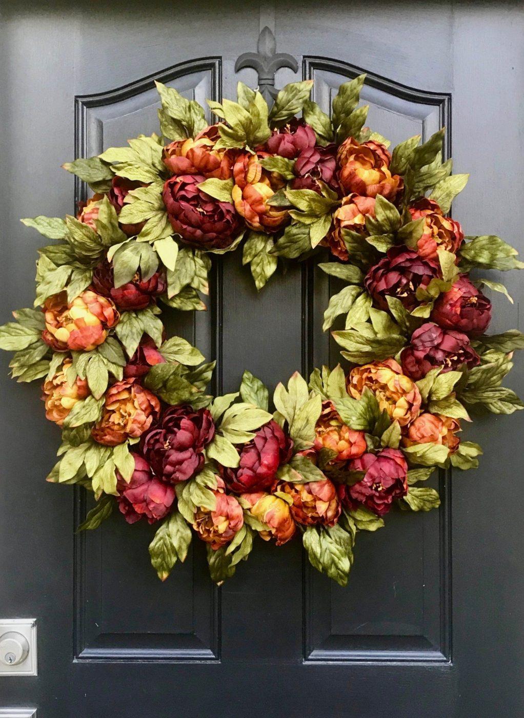 Peony fall wreath idea
