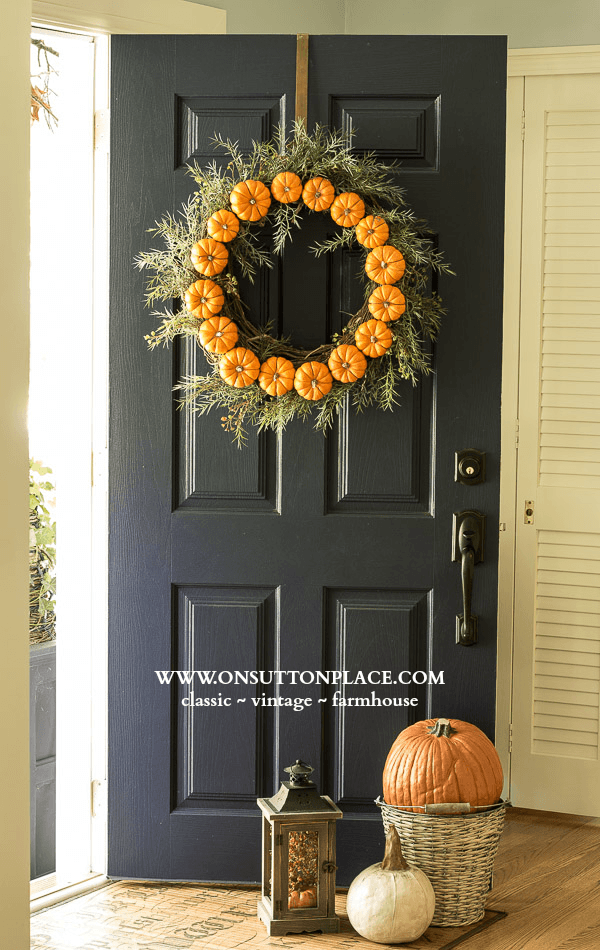 Pumpkin wreath from On Sutton Place
