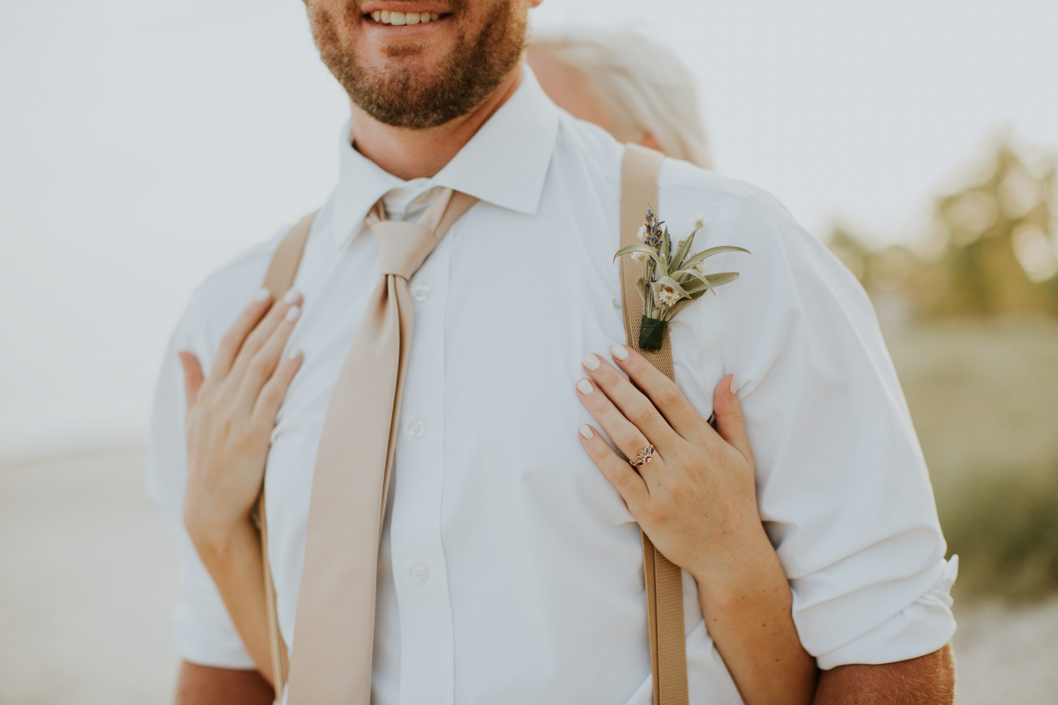 DIY boutonnieres on groom