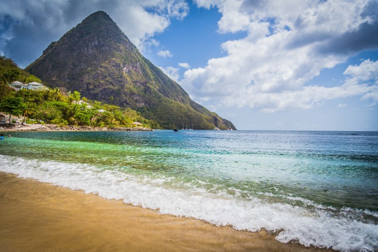 Sugar Beach in St. Lucia | www.sweetteasweetie.com