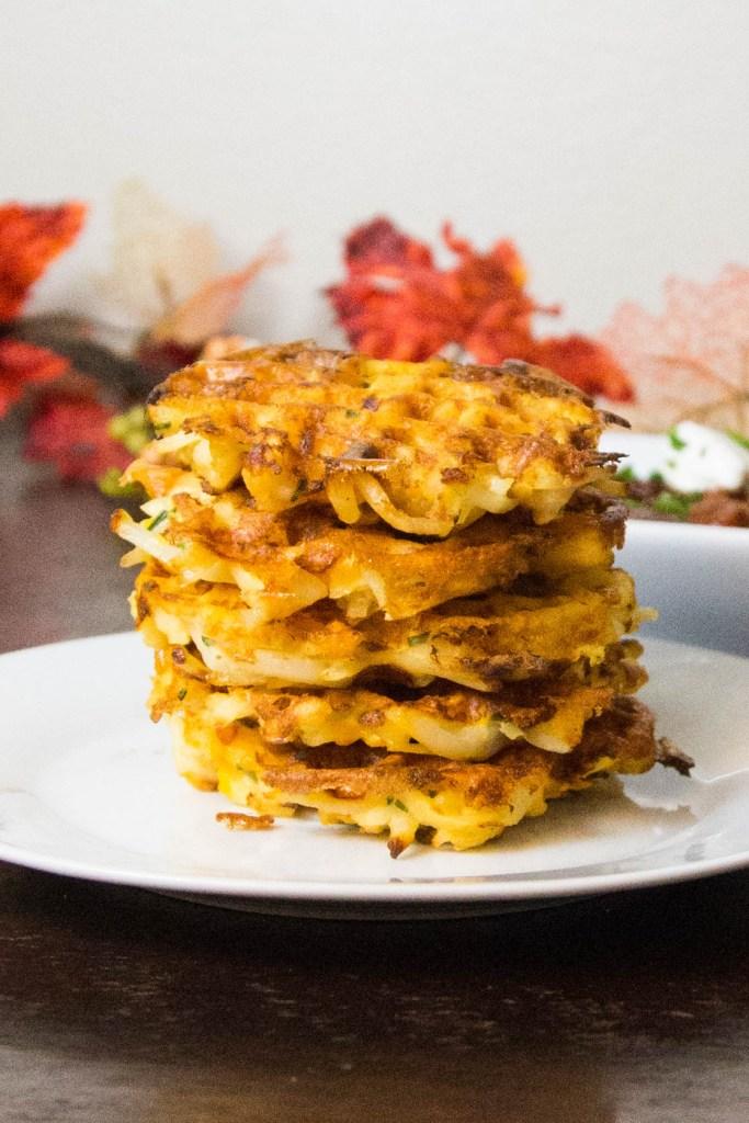 Cheddar Potato Waffle Fritters | www.sweetteasweetie.com