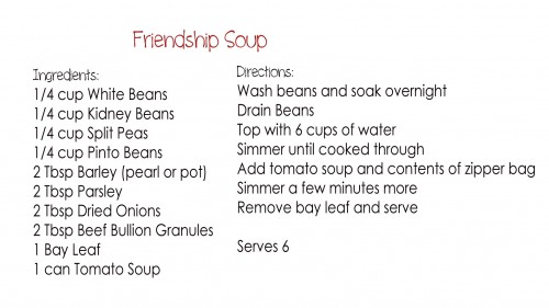 Gift in a Jar Friendship Soup with Free Printable  Sweet