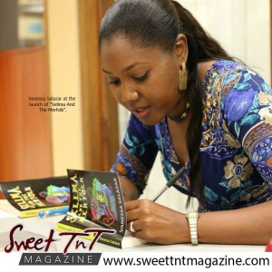 Vanessa Salazar at launch of Selima and the Merfolk, photo caribbeanbooks.org,