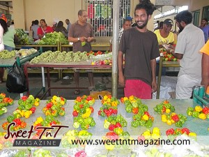 Scotch Bonnet peppers at Tunapuna Market in sweet T&T for Sweet TnT Magazine, Culturama Publishing Company, for news in Trinidad, in Port of Spain, Trinidad and Tobago, with positive how to photography.