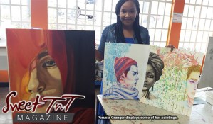 Perusia Granger, Perusia's passion, with art work for article by Marika Mohammed in sweet T&T for Sweet TnT Magazine in Trinidad and Tobago