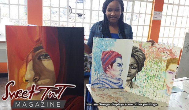Perusia Granger with art work for article by Marika Mohammed in sweet T&T for Sweet TnT Magazine in Trinidad and Tobago