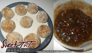 On the left we have tamarind balls and on the right tamarind stew in sweet T&T for Sweet TnT Magazine, Culturama Publishing Company, for news in Trinidad, in Port of Spain, Trinidad and Tobago, with positive how to photography.