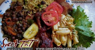 Delectable local food by Marissa Armoogam with pelau rice with celery and raisins, pigeon peas, baked chicken, fried okra, macaroni salad, fresh salad of tomatoes and lettuce, plantain by Wendy Ann alexander in Sweet T&T, Sweet TnT Magazine, Trinidad and Tobago, Trini, vacation, travel