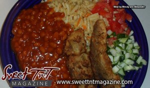 Delectable local food by Marissa Armoogam, baked beans, fried fish, macaroni and cheese with carrots, fresh salad of tomatoes and diced cucumbers by Wendy ann Alexander in Sweet T&T, Sweet TnT Magazine, Trinidad and Tobago, Trini, vacation, travel