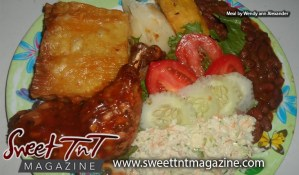 Delectable local food by Marissa Armoogam, macaroni pie, baked chicken, red beans, fresh salad of tomatoes, lettuce, fried potatoes, plantain, cabbage cole slaw, by Wendy ann Alexander in Sweet T&T, Sweet TnT Magazine, Trinidad and Tobago, Trini, vacation, travel