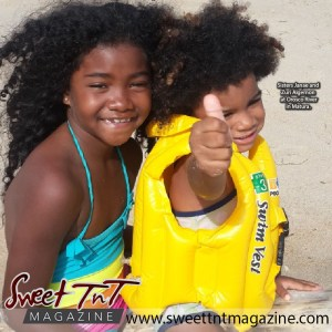 Marc Algernon's children sisters Janae and Zuri at Orosco River in Matura in Sweet T&T, Sweet TnT Magazine, Trinidad and Tobago, Trini, vacation, travel