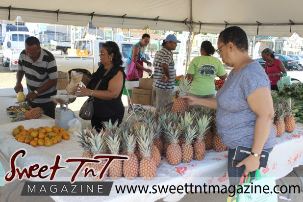 Woman in grey top picks a pineapple while vendor wearing black frilled outfit holds brown paper bag and man in striped jersey peels and slices pineapples for customers at Farmers' Market at Queen's Park Savannah, Port of Spain in parking lot in Sweet T&T, Sweet TnT, Trinidad and Tobago, Trini, vacation, travel