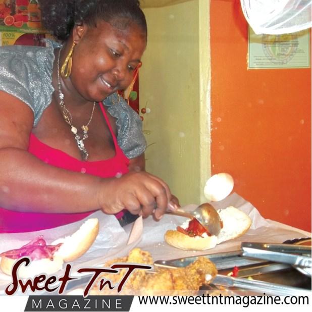 Gail serving food