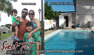 Hosein family take relaxing vibe at pool at Papa Joe's Place, Tobago, Sweet T&T, Sweet TnT, Trinidad and Tobago, Trini, vacation, travel