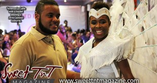 Terrence La Caille with a model wearing a 2016 Carnival costume for the band La ta Caille Kidz at Red Runway fashion show at Hasely Crawford Stadium in December 2015 for story My Dream for the children in Sweet T&T, Sweet TnT, Trinidad and Tobago, Trini, vacation, travel