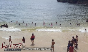 Macqueripe Bay, Beach, bathing in the sea, Sweet T&T, Sweet TnT, Trinidad and Tobago, Trini, Travel, Vacation, Tourist, bathe, sunbathing, water, waves, seas, bathing suit, lime, vacation, family, outing, children, how to, women, men, children
