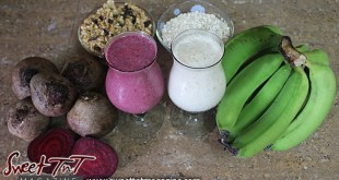 Beetroot and green fig punch or milkshake recipes for health with granola, oats, blood building benefits in Sweet T&T, Sweet TnT, Trinidad and Tobago, Trini, vacation, travel,