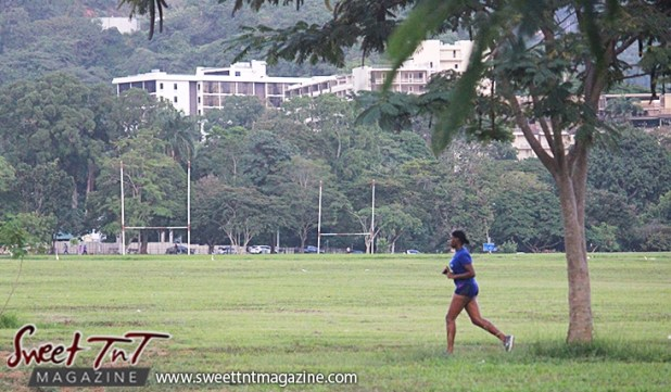 Woman jogging Queens Park Savannah Port of Spain for How to lose weight story in Sweet T&T, Sweet TnT, Trinidad and Tobago, Trini, vacation, travel