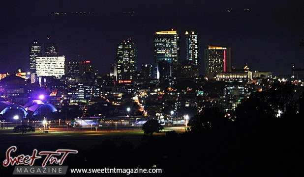 Twin Towers, Grand Stand in foreground, city of Port of Spain from Lady Chancellor Hill in sweet t&t for Sweet TnT Magazine in Trinidad and Tobago for tourists, photography, scenic views, vacation, travel