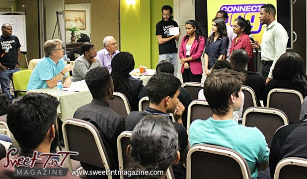 Entrepreneurs listen to judges after pitching their ideas at Launch Rockit in sweet t&t for Sweet TnT Magazine in Trinidad and Tobago