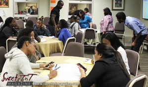 Facilitators assist groups discussing ideas at Launch Rockit business in 54 hours in sweet t&t for Sweet TnT Magazine in Trinidad and Tobago