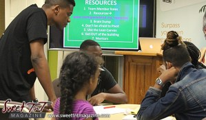 Group members stand and sit while discussing ideas at Launch Rockit business in 54 hours in sweet t&t for Sweet TnT Magazine in Trinidad and Tobago