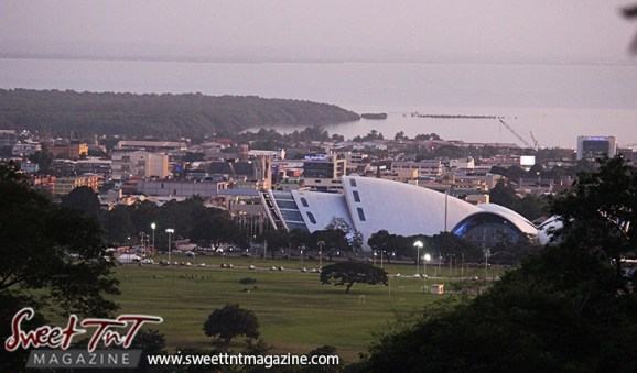 NAPA building in city of Port of Spain from Lady Chancellor Hill in sweet t&t for Sweet TnT Magazine in Trinidad and Tobago for tourists, photography, scenic views, vacation, travel