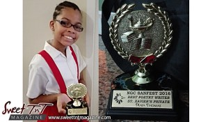 Maya Thomas, 11 years old, St Xavier's Private School, NGC Sanfest 2016, Creative Writing, Poetry, Competition, winner in red uniform, in sweet T&T for Sweet TnT Magazine, Culturama Publishing Company, for news in Trinidad, in Port of Spain, Trinidad and Tobago, with positive how to photography.