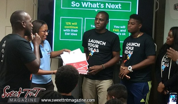 Winner entrepreneurs receive prize of units for idea at Launch Rockit in sweet t&t for Sweet TnT Magazine in Trinidad and Tobago