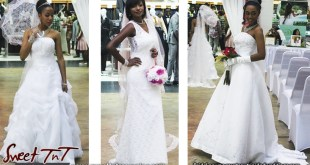 Wedding dress courtesy trinidadweddings.com displayed at Trincity Mall in 2016 in sweet T&T for Sweet TnT Magazine, Culturama Publishing Company, for news in Trinidad, in Port of Spain, Trinidad and Tobago, with positive how to photography.