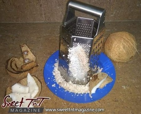 Grated coconut for coconut bake in sweet T&T for Sweet TnT Magazine, Culturama Publishing Company, for news in Trinidad, in Port of Spain, Trinidad and Tobago, with positive how to photography.