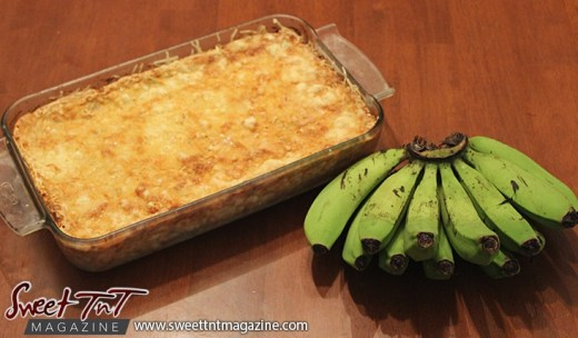 Making green banana casserole in Sweet T&T