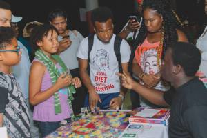 Le Platte Studios launches Carnival board game. Participants at the Santimanitay launch at UWI, St Augustine in April 2017. Photo by Jason J Regis