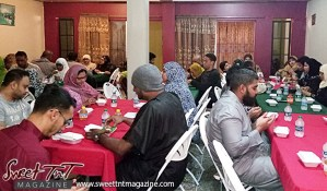 Muslims at Iftar celebration, Ramadan, Nerissa Hosein, Trinidad and Tobago.