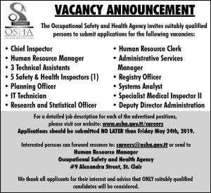 The Occupational Safety and Health Agency Vacancies