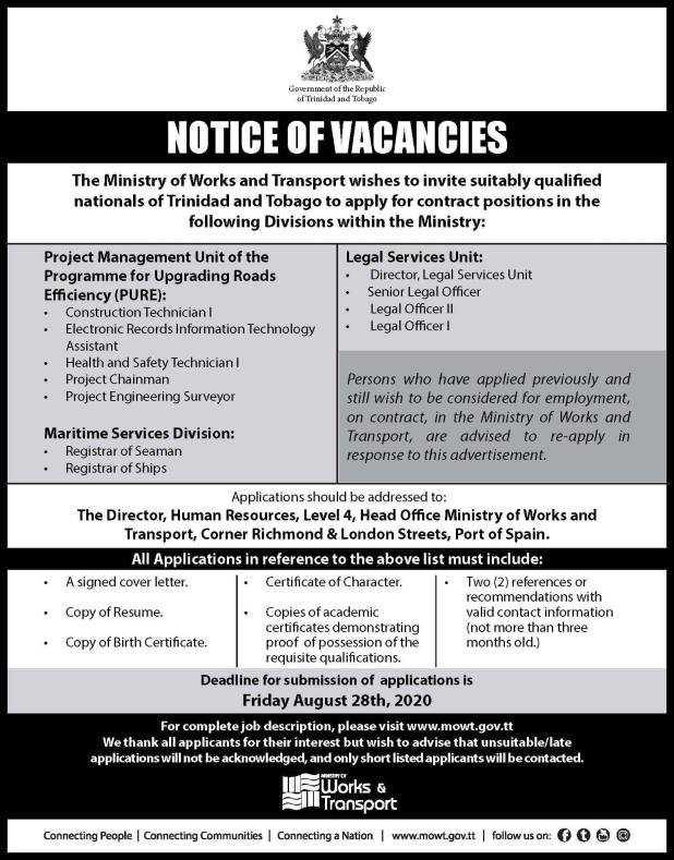 Ministry of Works & Transport Jobs