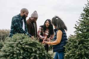 black family cutting down fir tree