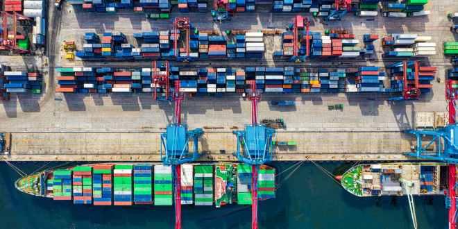 TTSCI Pre-budget webinar. Birds eye view photo of freight containers