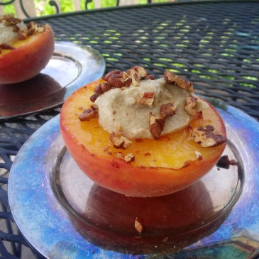 Grilled or Skillet Peaches with Cashew Cream and Pecans