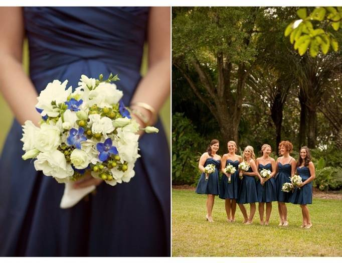 white blue green bouquet, navy bridesmaid dress