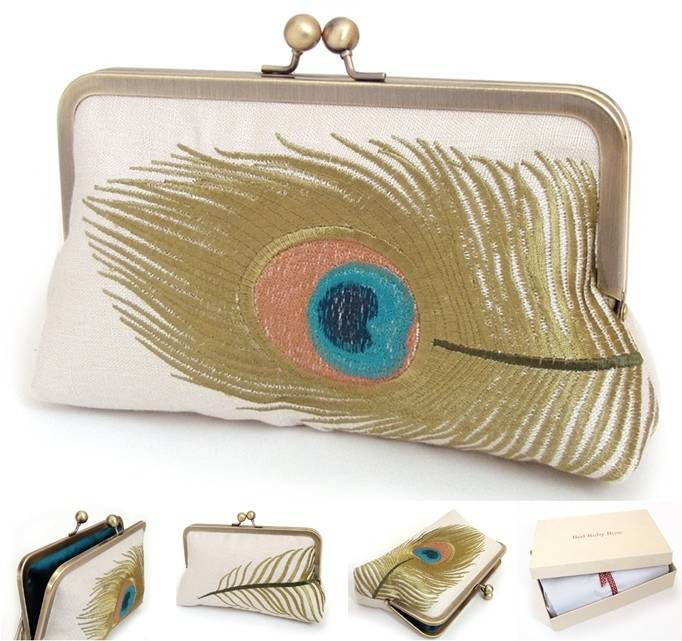 peacock wedding bridesmaid clutch