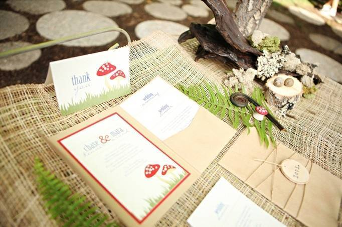 woodland wedding mushroom invitations