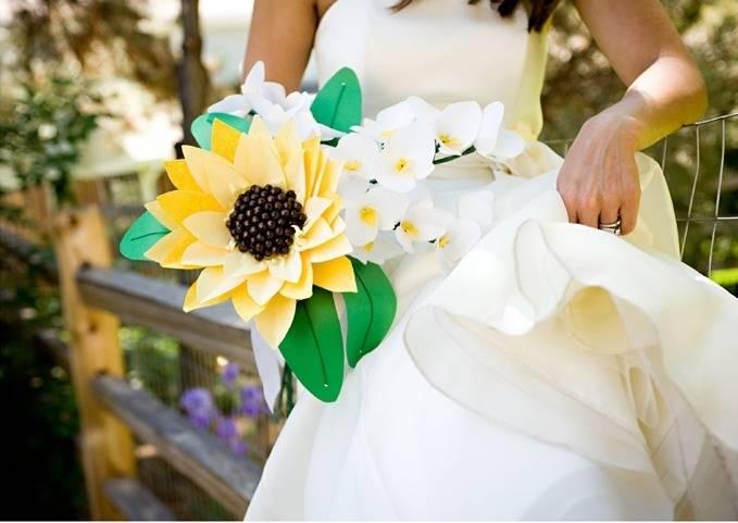 paper sunflower wedding bouquet