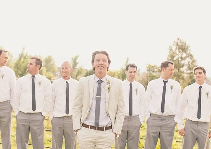 grey groom suit