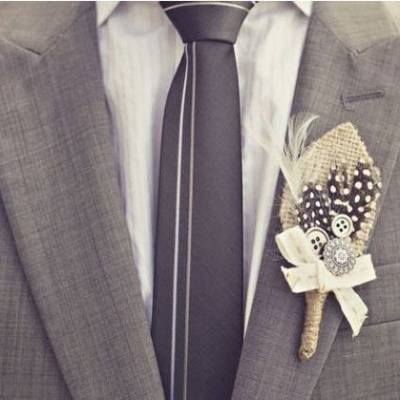 DIY: Rustic Burlap & Feather Boutonniere