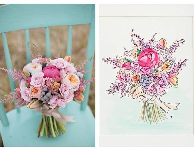 pink peony and astilbe bouquet